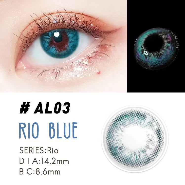 FRESHLADY RIO BLUE COLORED CONTACT LENSES COSMETIC FREE SHIPPING - EyeQ Boutique