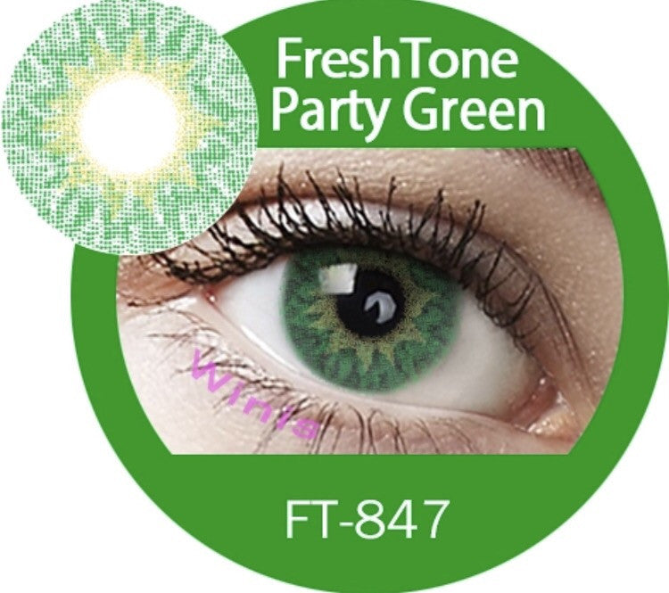 FRESHTONE PARTY GREEN COSMETIC COLORED CONTACT LENSES FREE SHIPPING - EyeQ Boutique