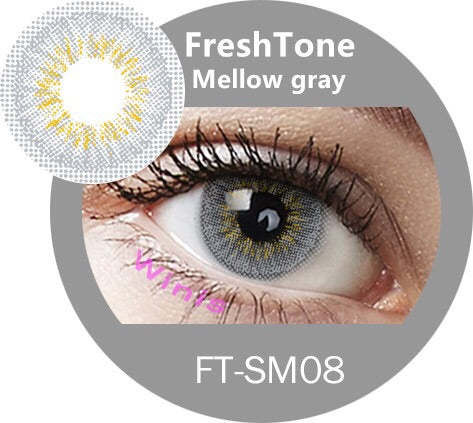 FRESHTONE MELLOW GRAY (GREY) COSMETIC COLORED CONTACT LENSES FREE SHIPPING - EyeQ Boutique
