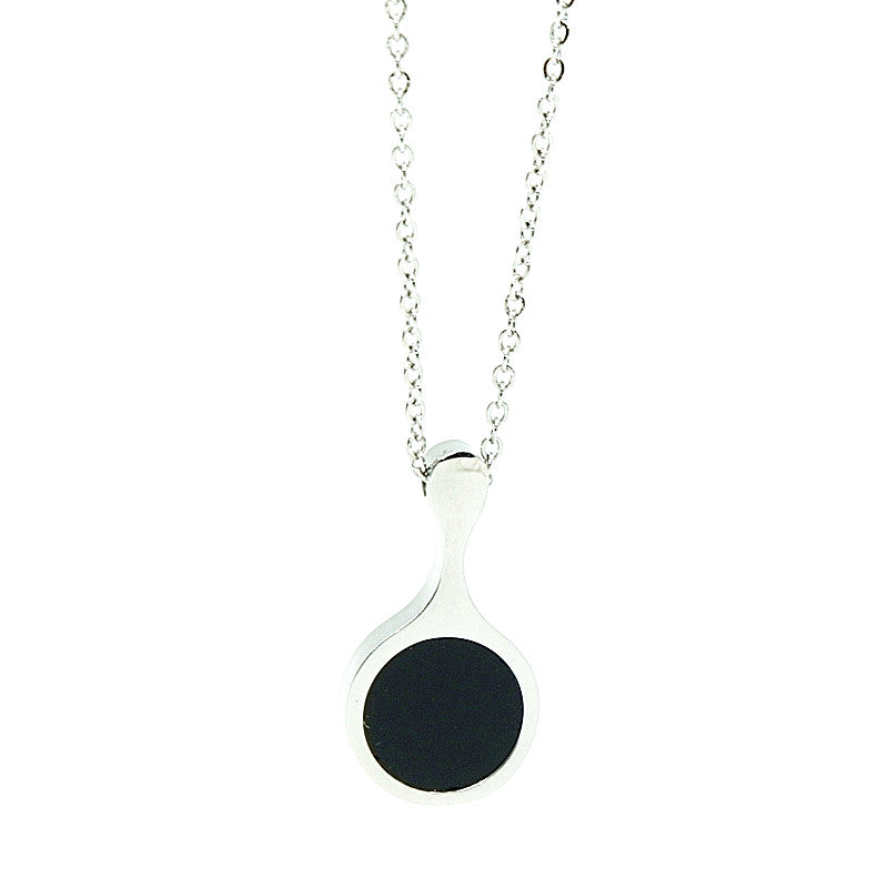 stainless steel necklace in silver with black pendant