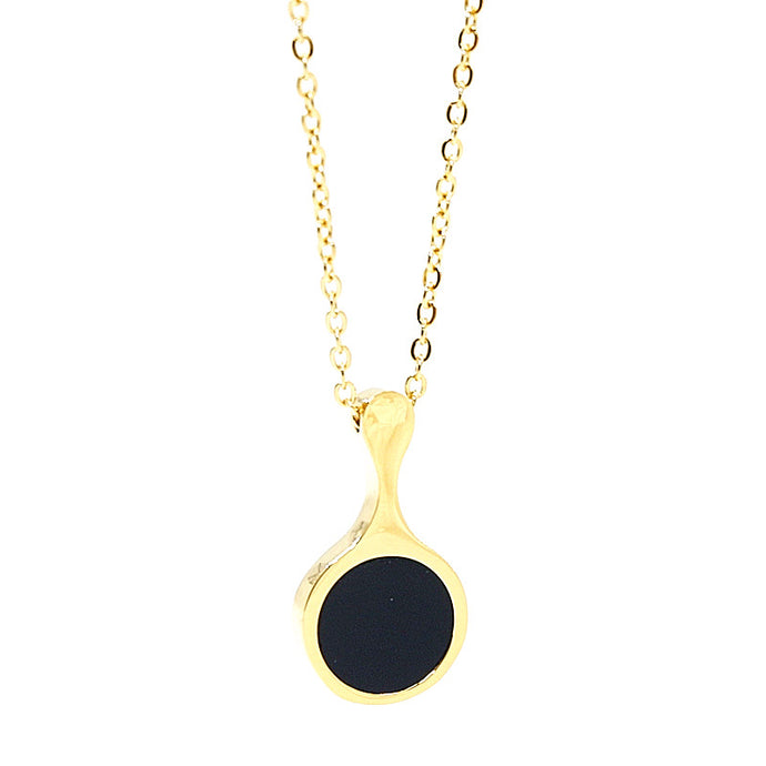 stainless steel necklace in gold with black pendant