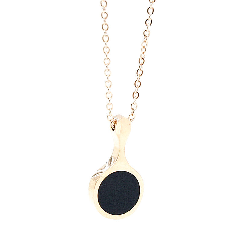 stainless steel necklace in rose gold with black pendant