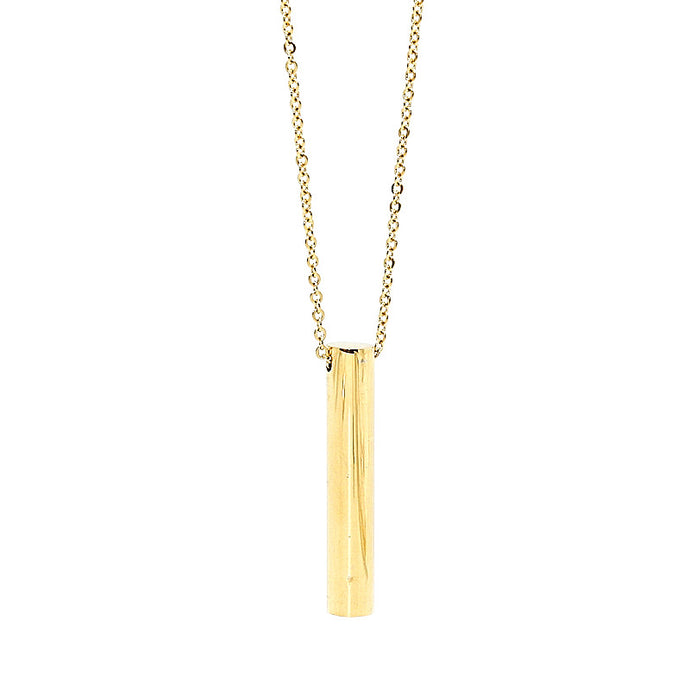 stainless steel necklace in gold with long pendant