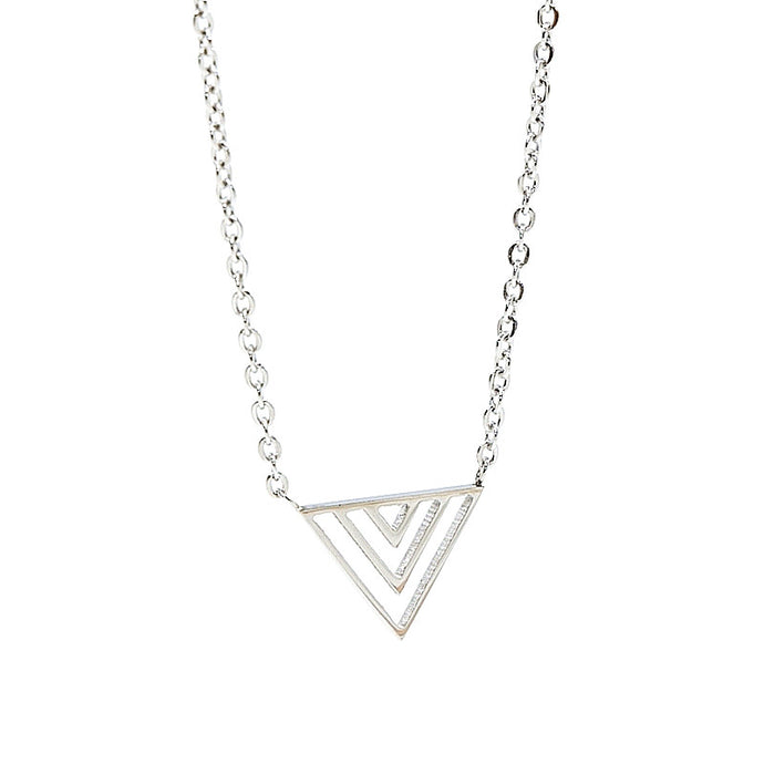 stainless steel necklace in silver with triangle pendant
