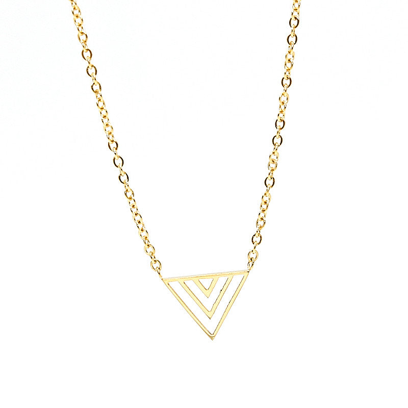 stainless steel necklace in gold with triangle pendant