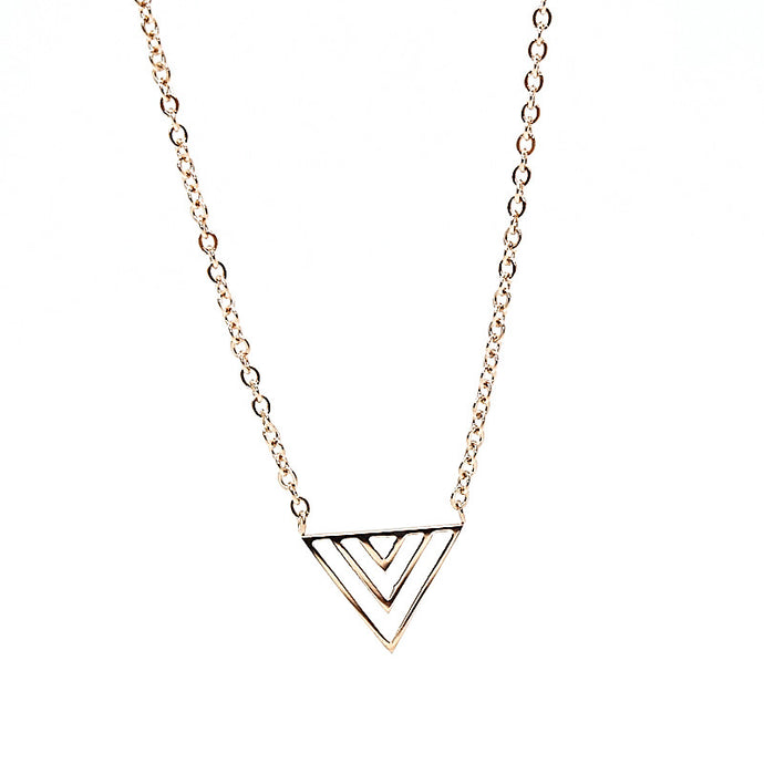 stainless steel necklace in rose gold with triangle pendant