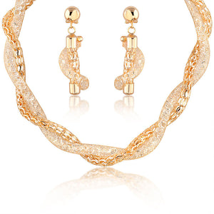 entagled mesh jewelry necklace set