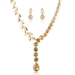 half crystal jewelry set in gold