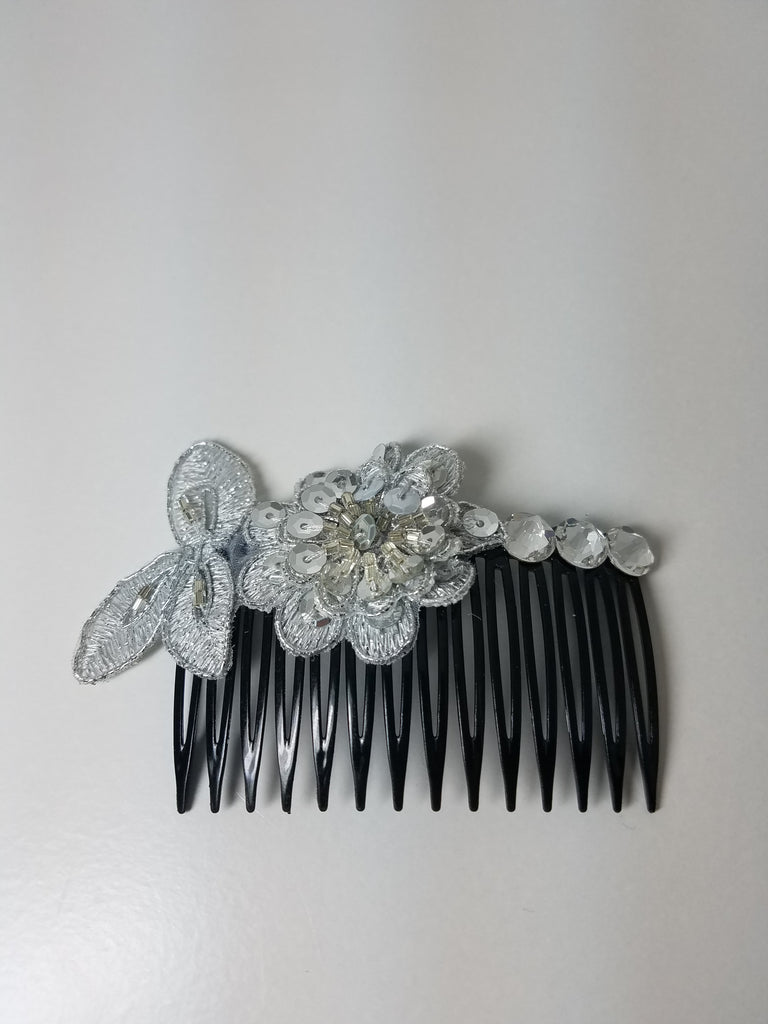 SIlver Flower and Crystal Hair Comb