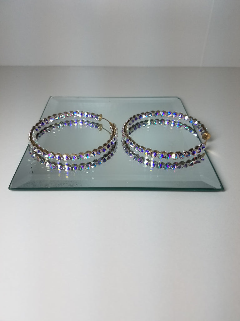 Clip on Single Row Crystal Hoops