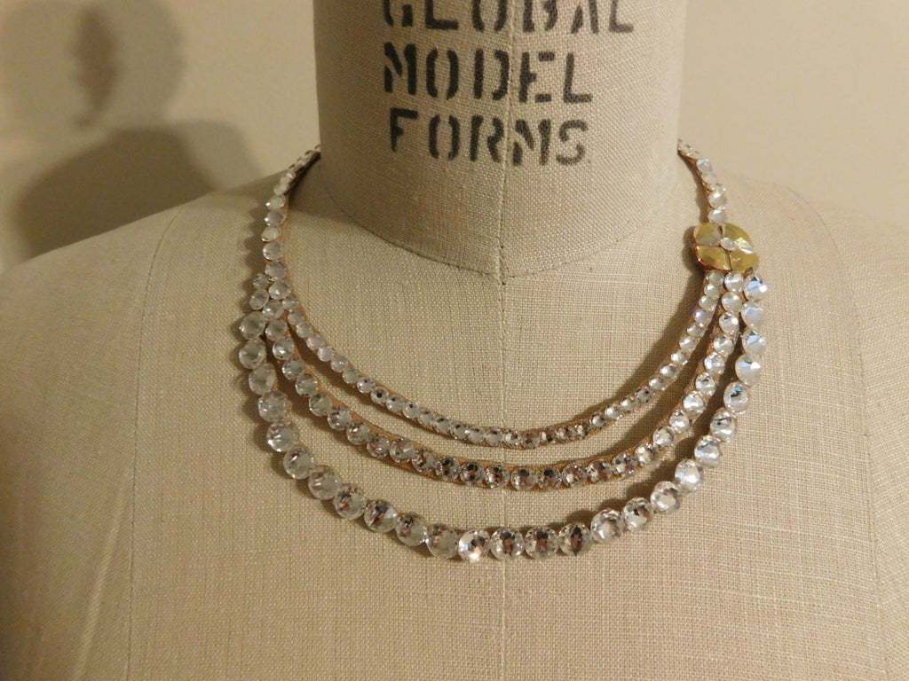 Three Strand Swarovski Crystal Ballroom Necklace