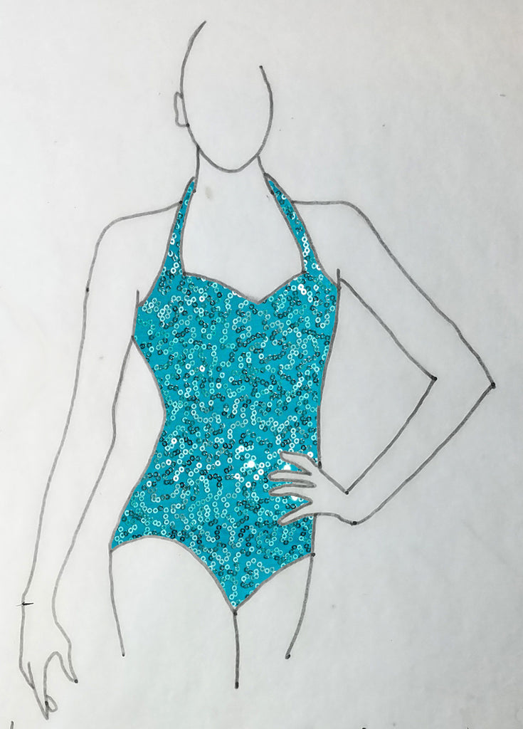 ReShapable Looks Halter Leotard Sequin Spandex