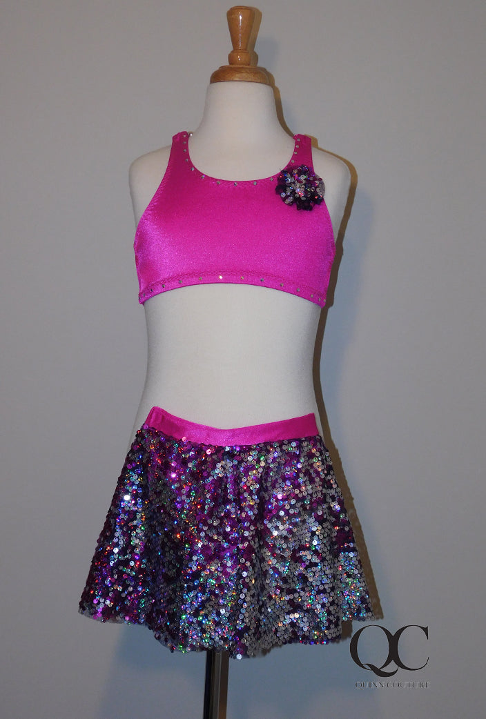 Fuchsia Sequin Two Piece Costume Child Small