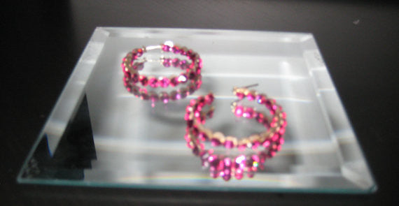 "Single Row Crystal 1.5"" Hoop Earrings"