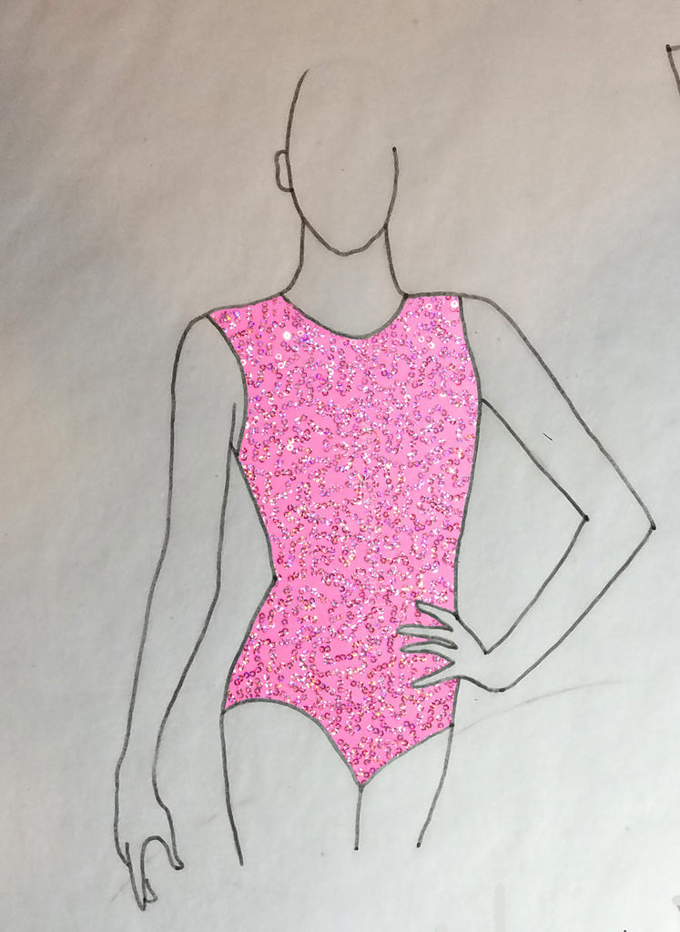 ReShapable Looks Keyhole Leotard Sequin Spandex