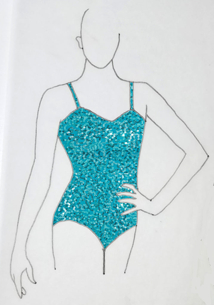 ReShapable Looks Spaghetti Strap Leotard Sequin Spandex
