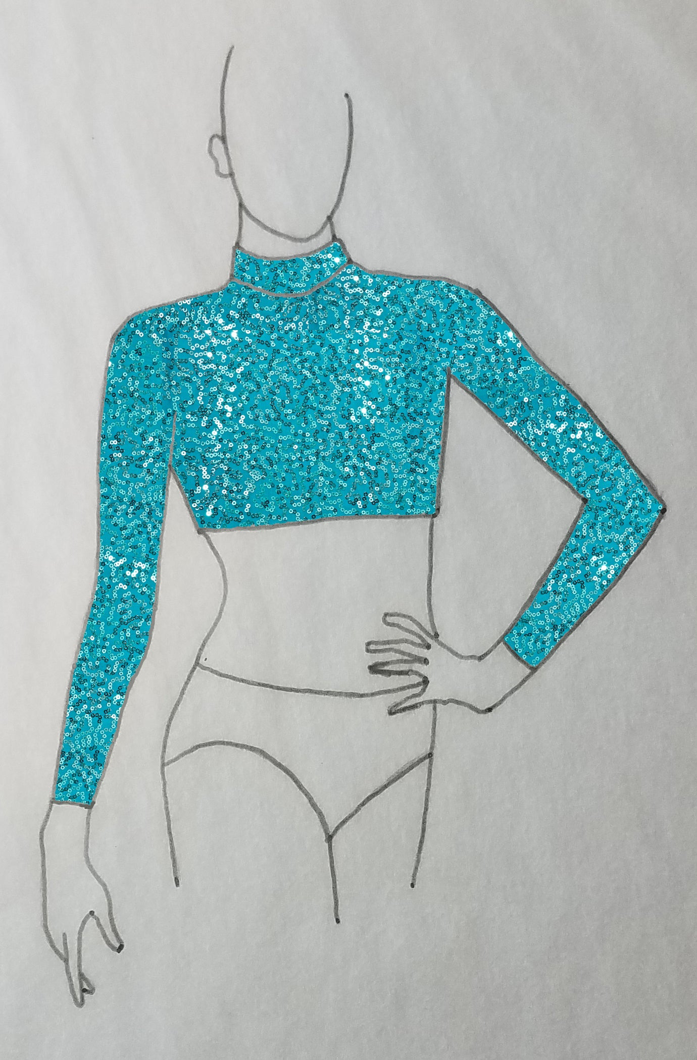 ReShapable Looks Mock Turtleneck Crop Sequined Spandex