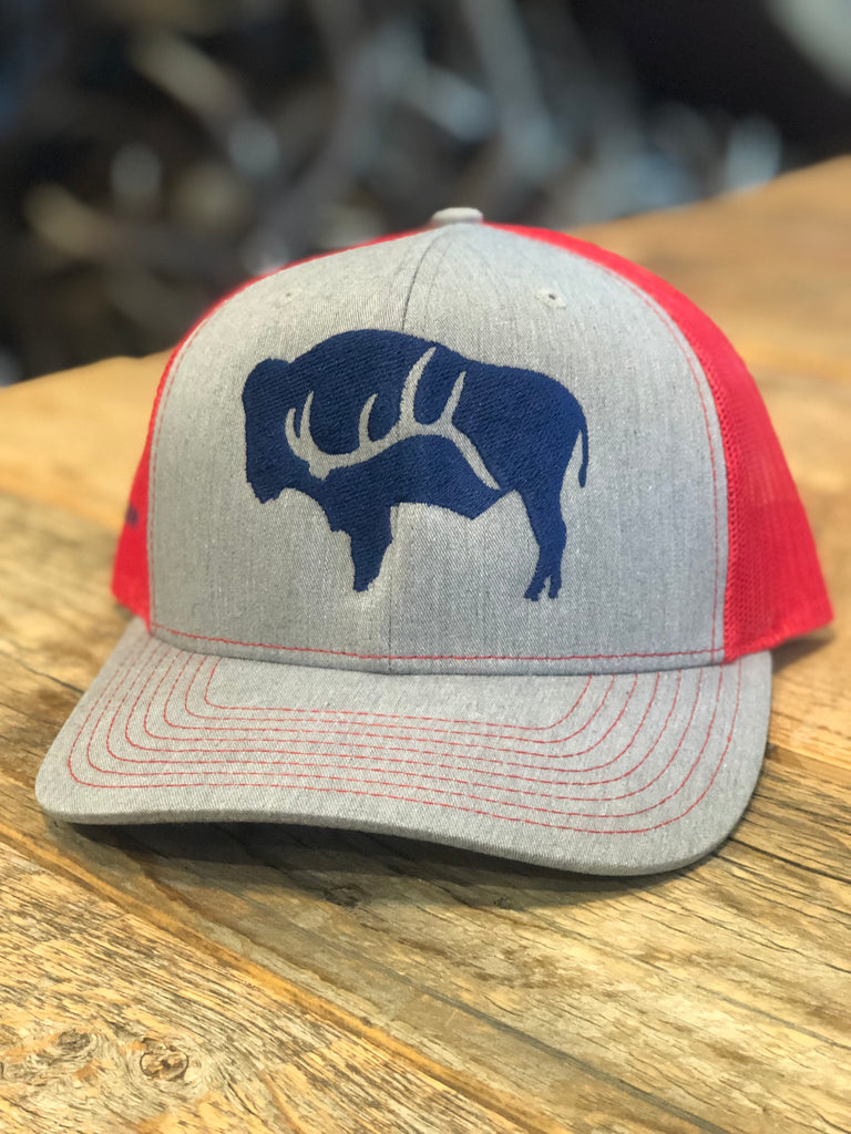 Heather Grey/Red/Navy Bison shed