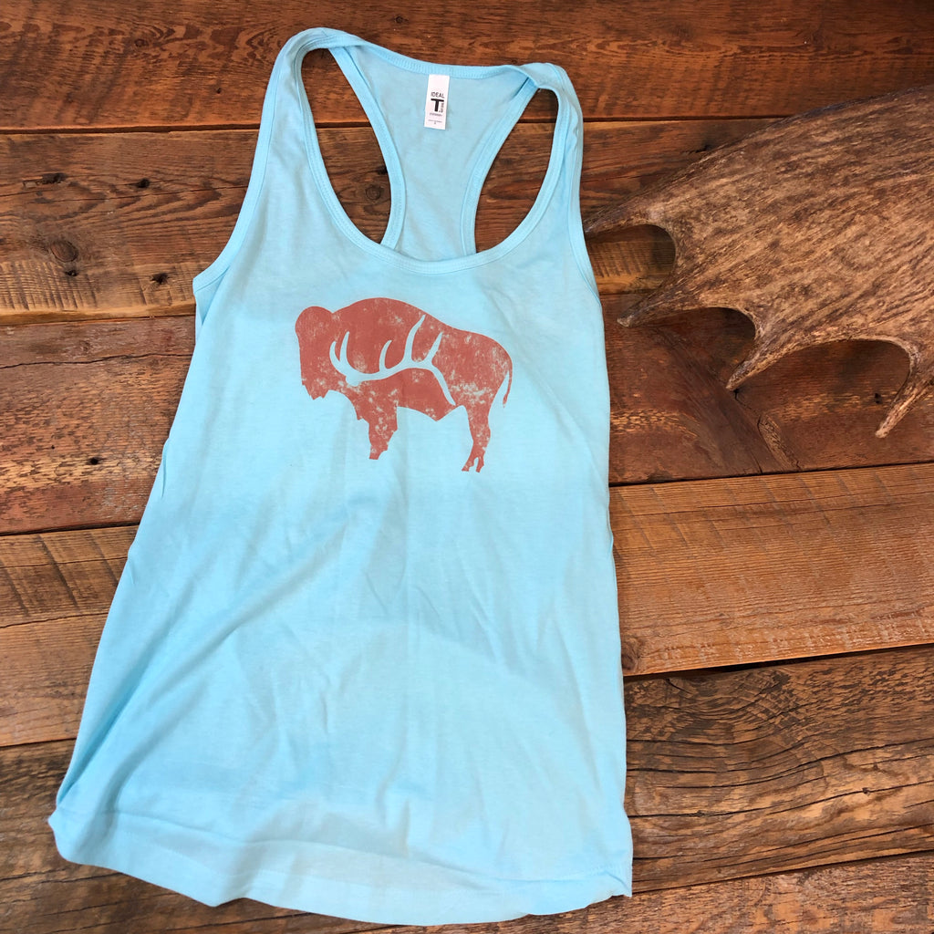 Light Blue Racerback Bison Shed Tank