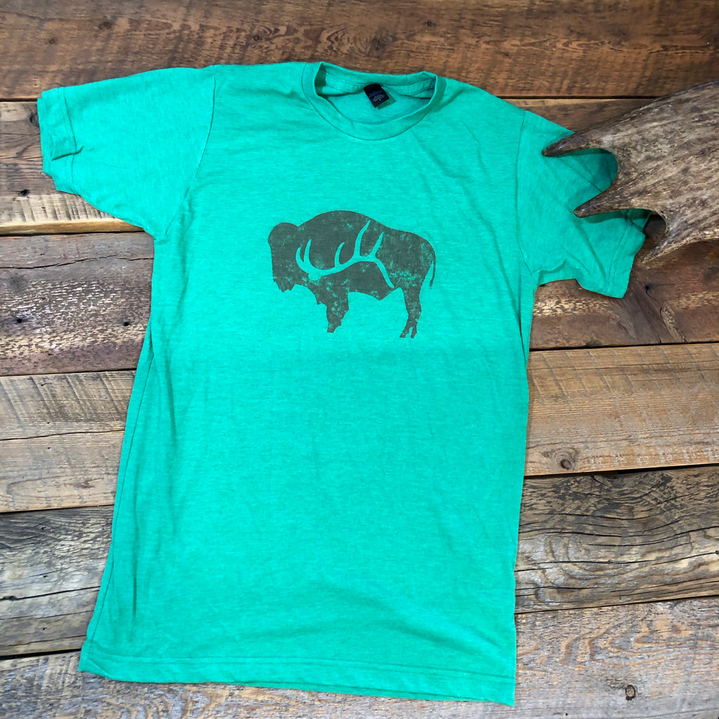 Heather Green Bison Shed Unisex T