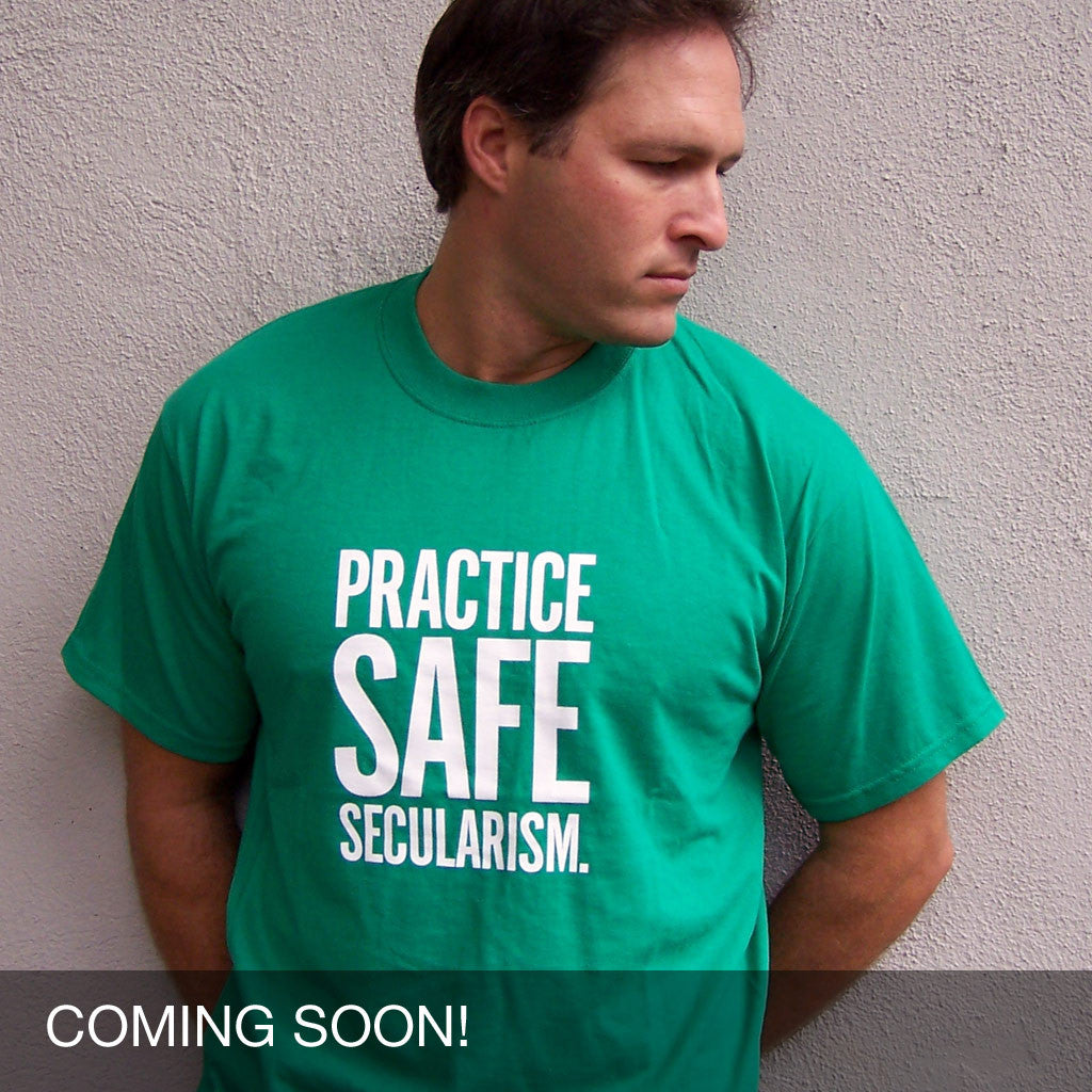 Practice Safe Secularism Progressive secular atheist T-Shirt from Progresswear.com