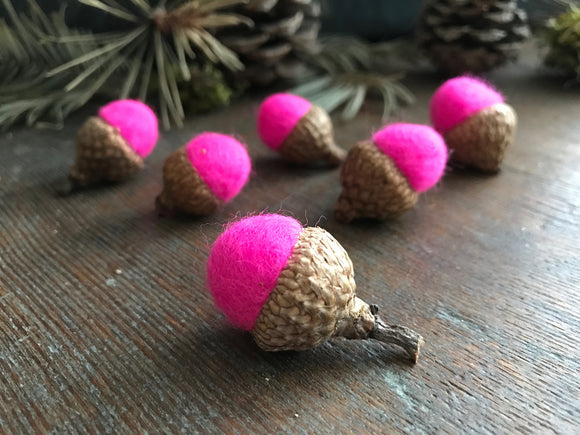 Felted wool acorns, set of 6, Fluorescent Pink