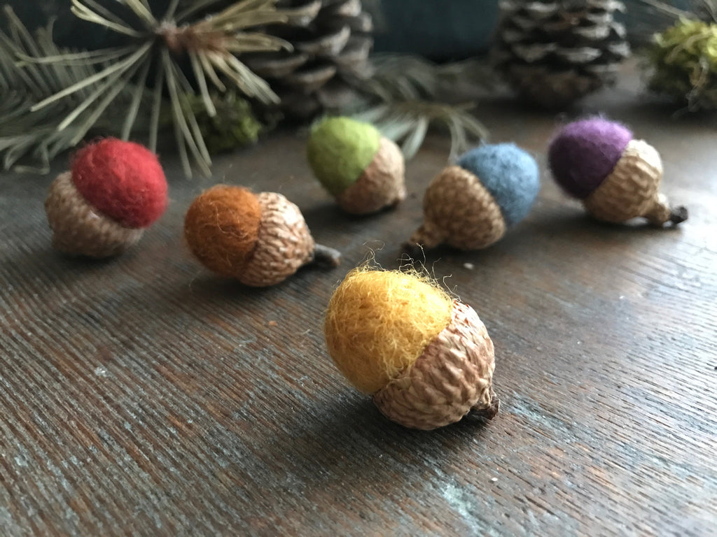 Felted wool acorns, set of 6, Earth Tones Rainbow