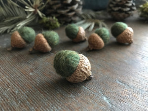 Felted wool acorns, set of 6, Mossy Green