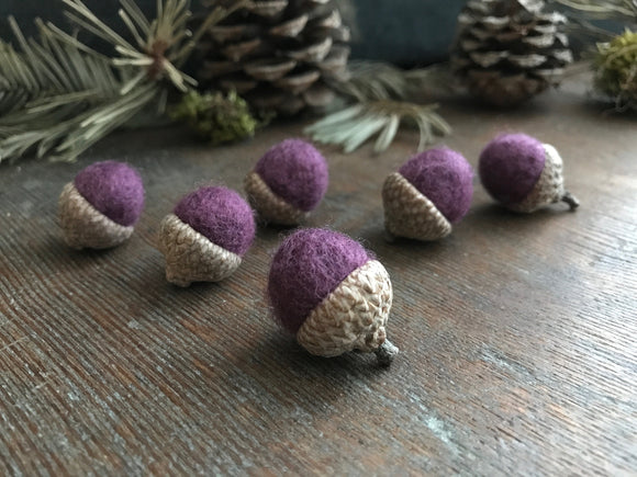 Felted wool acorns, set of 6, Plum Purple