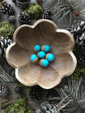 Felted wool acorns, set of 6, Bright Turquoise