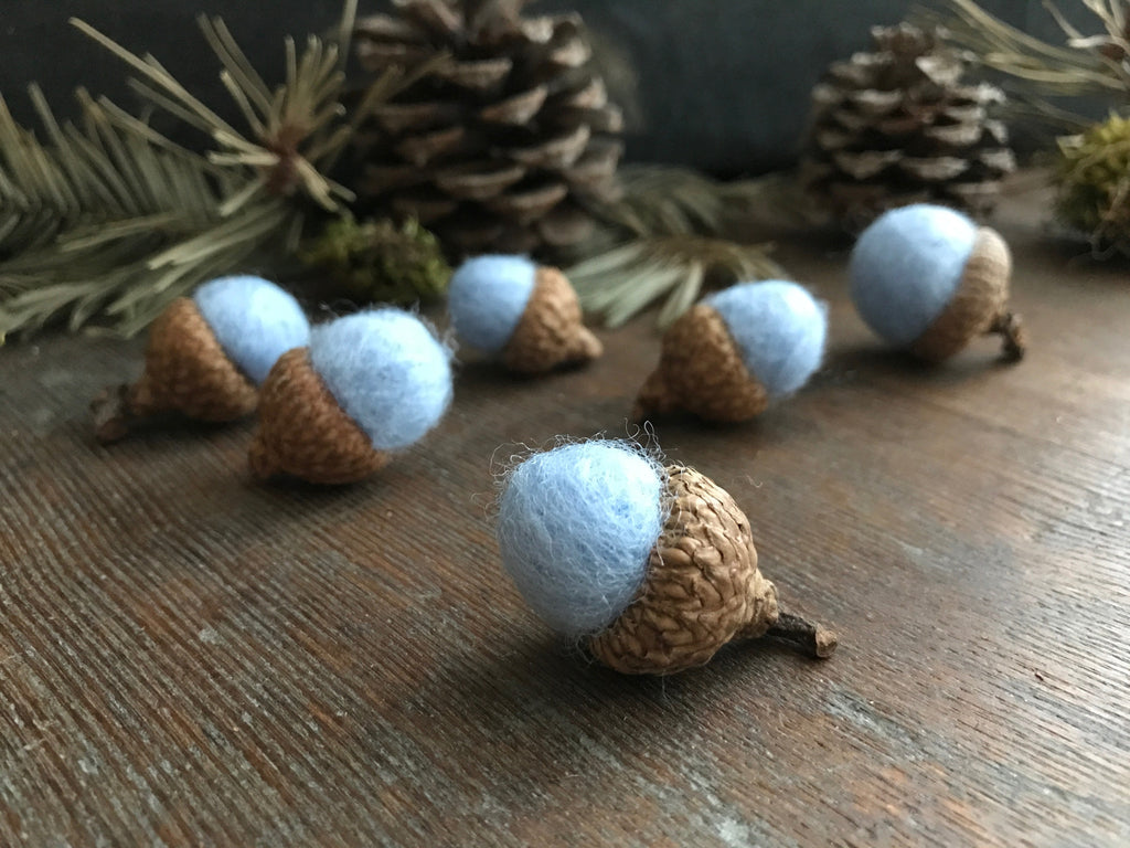 Felted wool acorns, set of 6, Baby Blue