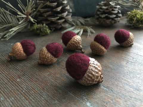 Felted wool acorns, set of 6, Garnet Red