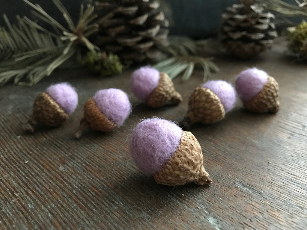 Felted wool acorns, set of 6, Pastel Purple