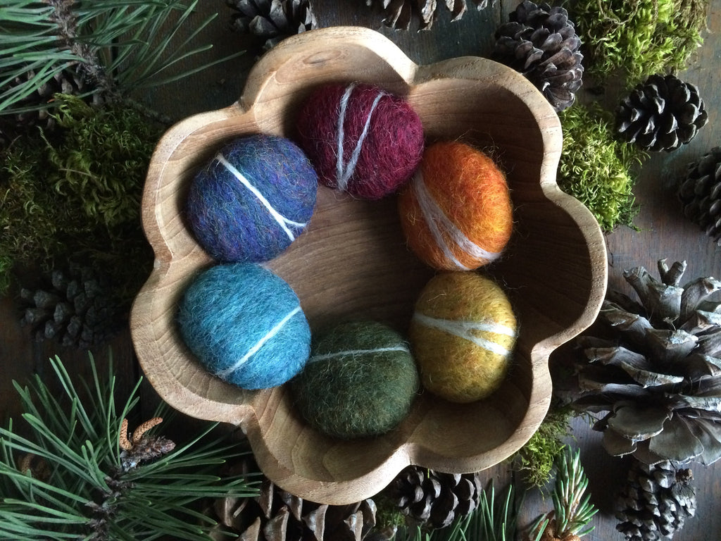 Felted wool pebbles, set of 6, Rainbow