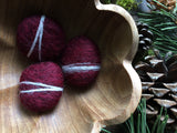 Felted wool pebbles, set of 3, Garnet Red
