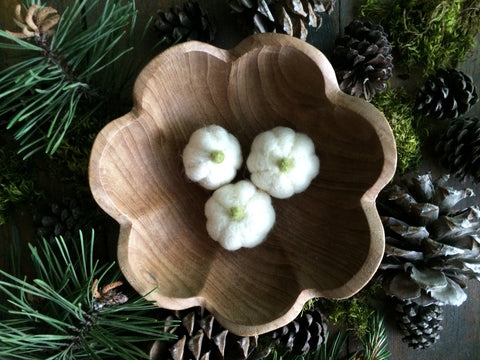 Felted wool pumpkins, set of 3, Natural White