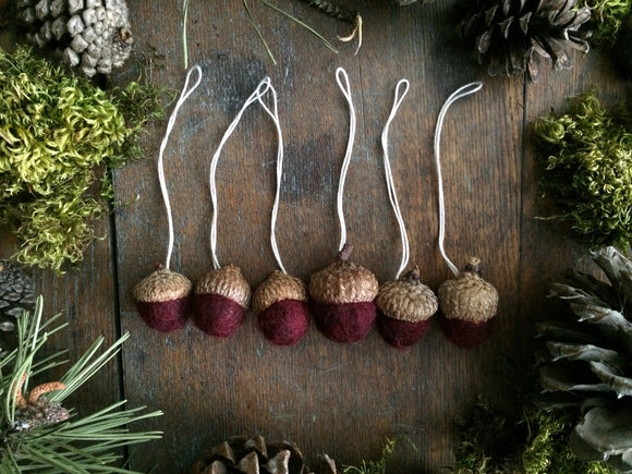 Felted Wool Acorn Ornaments, set of 6, Garnet Red
