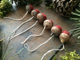 Felted Wool Acorn Ornaments, set of 6, Brick Red