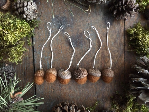 Felted Wool Acorn Ornaments, set of 6, Fox Brown