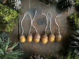 Felted Wool Acorn Ornaments, set of 6, Saffron Yellow