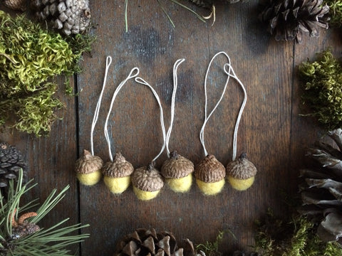 Felted Wool Acorn Ornaments, set of 6, Yellow