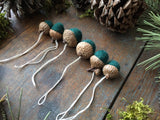 Felted Wool Acorn Ornaments, set of 6, Pine Green