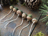 Felted Wool Acorn Ornaments, set of 6, Mossy Green