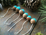 Felted Wool Acorn Ornaments, set of 6, Bright Turquoise