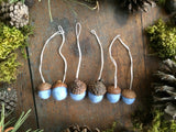 Felted Wool Acorn Ornaments, set of 6, Baby Blue