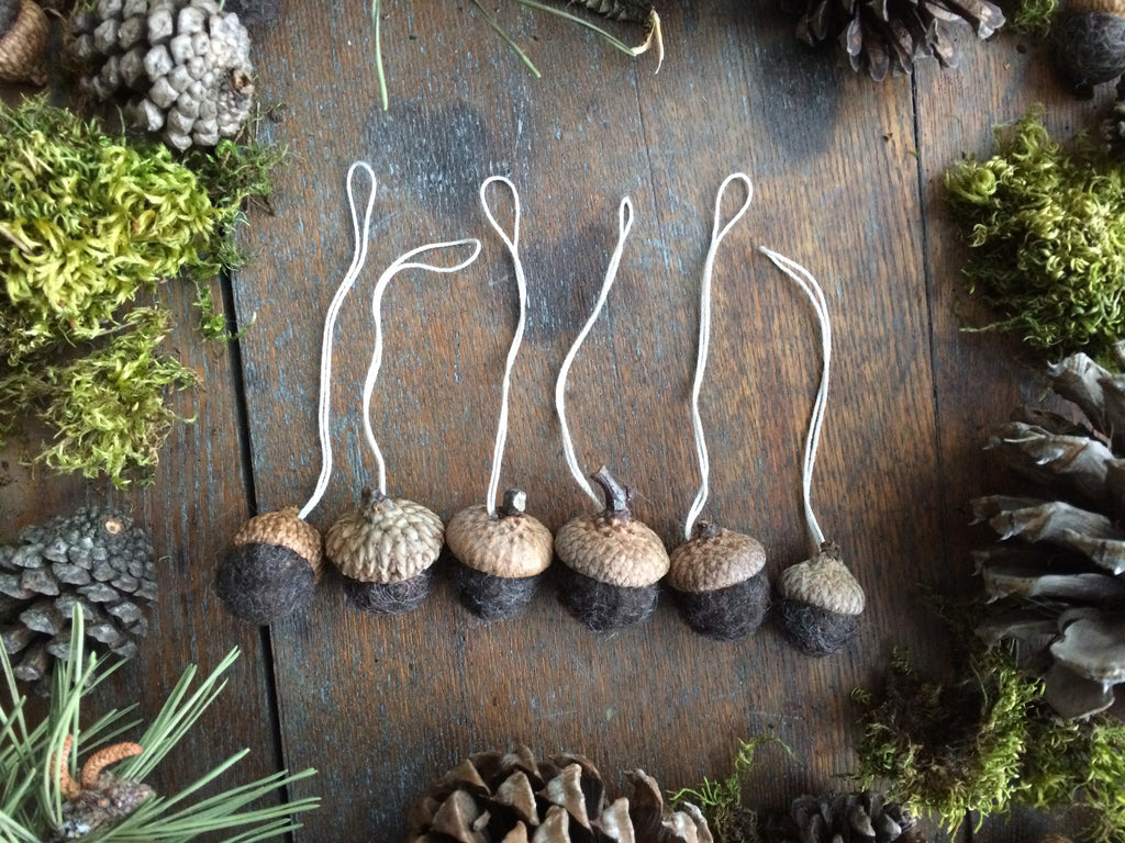 Felted Wool Acorn Ornaments, set of 6, Dark Brown Heather