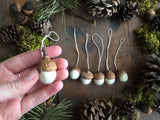 Felted Wool Acorn Ornaments, set of 6, Natural White
