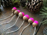Felted Wool Acorn Ornaments, set of 6, Fluorescent Pink