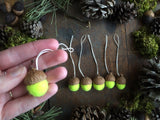 Felted Wool Acorn Ornaments, set of 6, Fluorescent Yellow