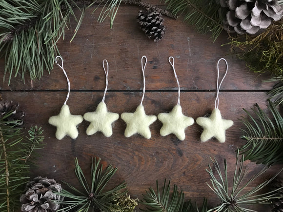 Wool star ornaments, set of 5, Lemon Chiffon